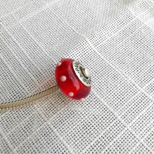 Pandora red white garden charm Murano glass